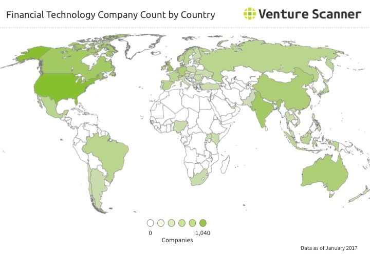 Financial Technology Company Count by Country Q1 2017