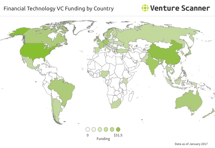 Financial Technology VC Funding by Country Q1 2017