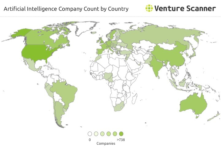 AI Company Count by Country Q1 2017