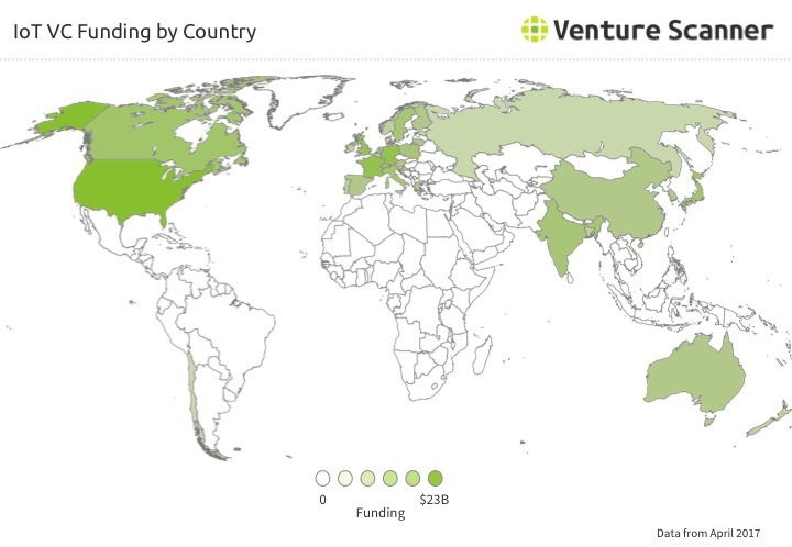IoT Company VC Funding By Country Q2 2017