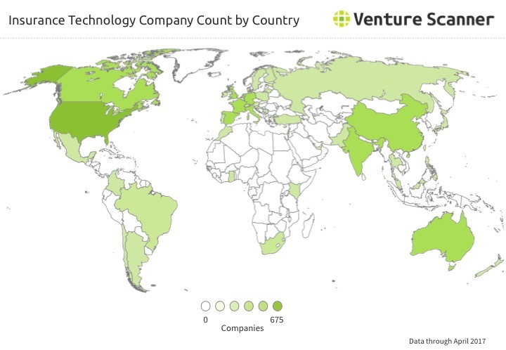 Insurtech Company Count by Country Q2 2017