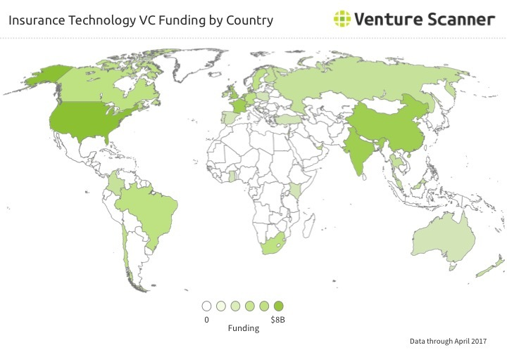 Insurtech VC Funding by Country Q2 2017