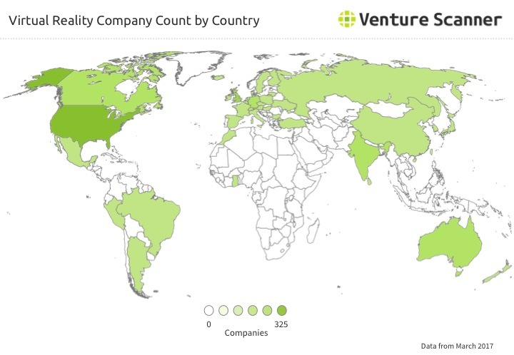 VR Company Count by Country Q2 2017