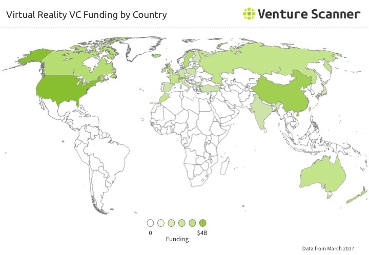 VR VC Funding by Country Q2 2017