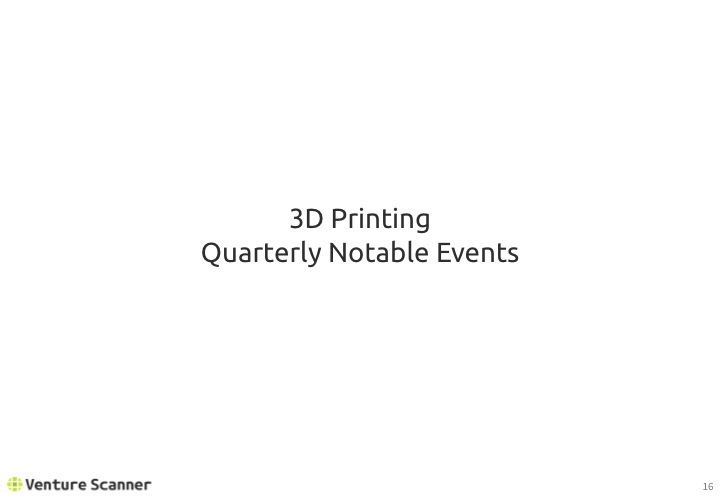 3D Printing Q2 2017 Recent Events