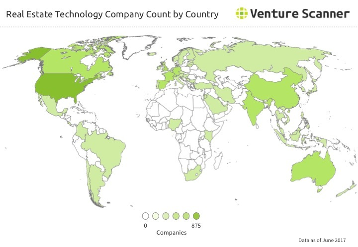 Real Estate Tech Company Count by Country