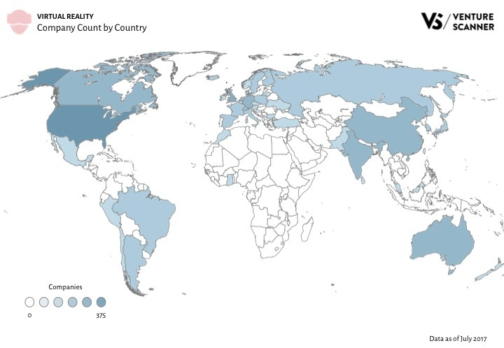 VR Q3 2017 Company Count by Country
