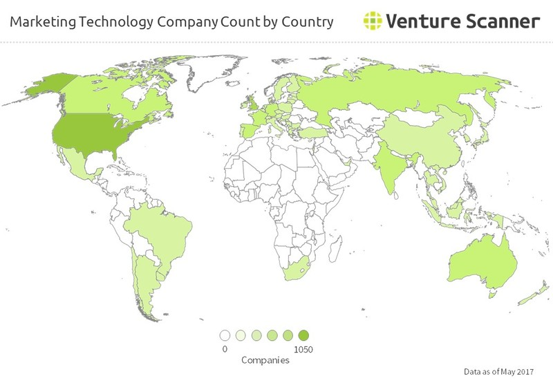 Marketing Technology Company Count by Country