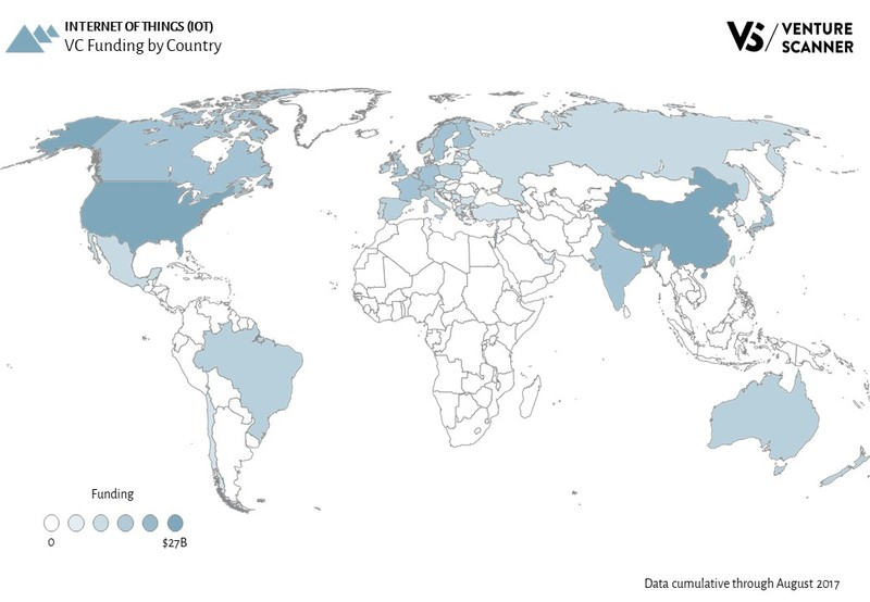 Internet of Things VC Funding by Country